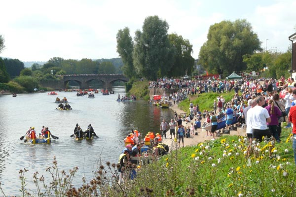 Monmouth Raft Race with many spectators