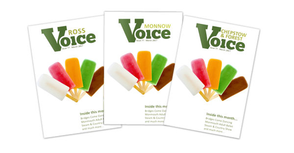 Covers for Monnow Voice, Chepstow and Forest Voice and Ross Voice magazines, June 2017