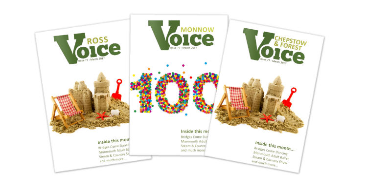 Covers for Monnow Voice, Chepstow and Forest Voice and Ross Voice magazines, Aug-Sept 2017