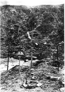 """Typical Battlefield Graves, awaiting reburial during """"safer times"""""""