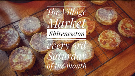 Shirenewton Village Market poster showing home made food