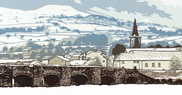 Lino print of Crickhowell