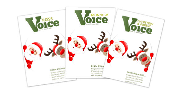 Covers for Monnow Voice, Chepstow and Forest Voice and Ross Voice magazines, Winter 2017