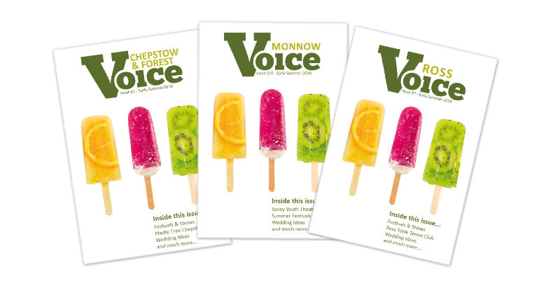 Ice Lollies: Covers for Monnow Voice, Chepstow and Forest Voice and Ross Voice magazines, Summer 2018