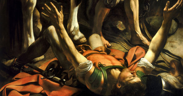 "Caravaggio's painting ""Conversion on the road to Damascus"""