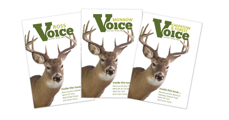 Covers for Monnow Voice, Chepstow and Forest Voice and Ross Voice magazines, Winter 2018