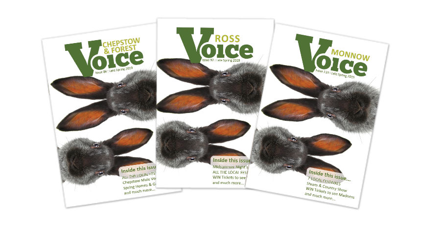 Covers for Monnow Voice, Chepstow and Forest Voice and Ross Voice magazines, Late Spring 2019