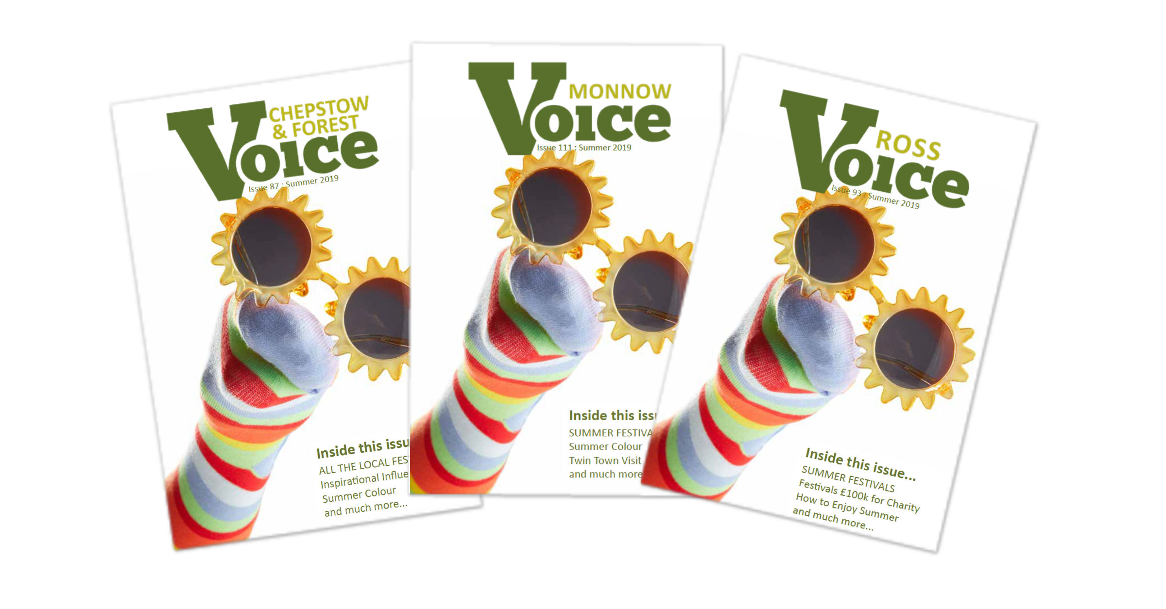 Covers for Monnow Voice, Chepstow and Forest Voice and Ross Voice magazines, Summer 2019