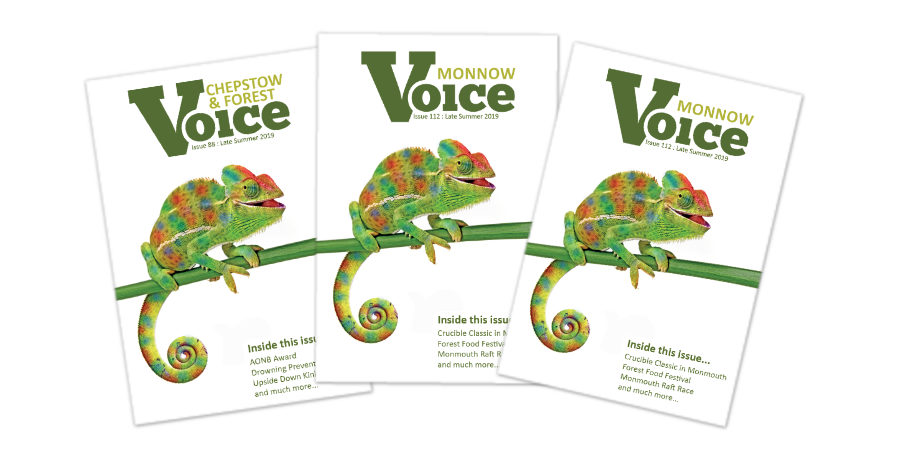 Covers for Monnow Voice, Chepstow and Forest Voice and Ross Voice magazines, Late Summer 2019