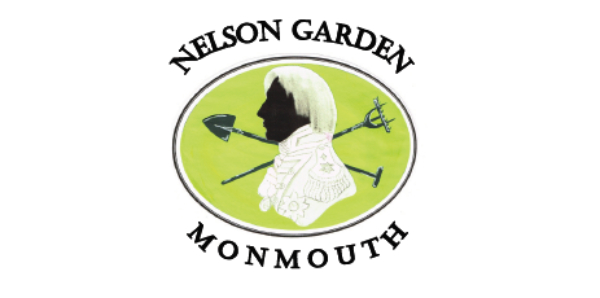 logo for Nelson Garden, Monmouth, showing Nelson and gardening tools